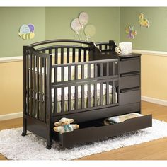 Mini Baby Bedding Cribs! I <3 the draw on the bottom! This is a perfect color for her crib!