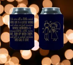 Are you as obsessed with Dr. Seuss as we are?  Then, you will love our Dr. Seuss Wedding Koozies!   Customized We Are All A Little Weird  Perfect by StripedPeanut