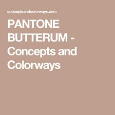 PANTONE BUTTERUM - Concepts and Colorways