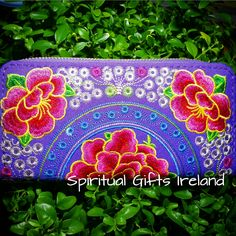 Purple Lotus Flower Embroidered Purse Handcrafted Embroidered Ethnic Purses Clutch and Wallets Inspirational Unusual Unique Holistic Spiritual Gifts Ireland Tapestry Design, Second Chances, Spiritual Gifts, Style And Grace, Embroidered Flowers, Lotus Flower, The Ordinary, Incense, Pond