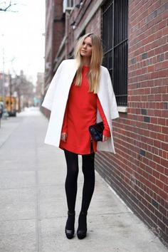 White Coat + Red Dress   Simple and Chic for Party