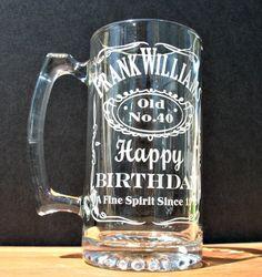 Custom Engraved Beer Mug. $15.00, via Etsy.  I'm SO doing this for Luke's 30th bday!!