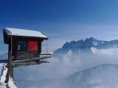 Camping at an altitude of 2000 meters in the ski resort Champoussin, Switzerland. Mountainside Les Dents du Midi.