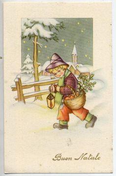 Bambino con Lanterna Paesaggio Innevato Natale Xmas Childrens PC Circa 1930