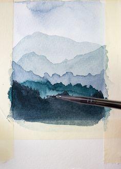 Craftberry Bush   Watercolor Wednesdays 1- How to paint mountains   http://www.craftberrybush.com
