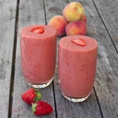 The Perfect Peach Smoothie   2 frozen ripe bananas - 2 peaches - a dozen strawberries - 1 cup of almond milk - a few ice cubes (optional) Optional – a tablespoon each of ground flaxseeds and chia seeds #accomplished very good