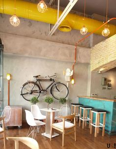 100 Modern Cafe Interior Design Concepts For Elegant Look Cafes have become a go-to place for not just coffee but more as a place to hangout. An interior specially designed to comfort the customers is what matters today. Coffee Shop Interior Design, Coffee Shop Design, Interior Minimalista, Design Loft, Cafe Design, Wood Design, Design Design, Inspiration Design, Interior Inspiration