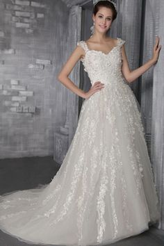 Charming Straps Ivory Tulle Full Length Princess Wedding Dresses With Lace Appliques Wedding Dresses With Flowers, Wedding Dresses 2014, Princess Wedding Dresses, Cheap Wedding Dress, Wedding Dress Styles, Bridal Dresses, Wedding Gowns, Prom Dresses, Formal Wedding