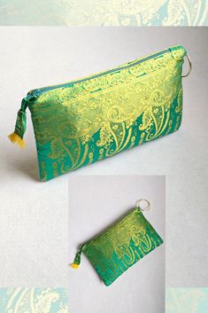 Clutch vivid color with a purse that catches the light. Made with the border of a sari fabric. Diy Bags Purses, Diy Purse, Purses And Handbags, Clutch Purse, Fancy Envelopes, Clothing Packaging, Potli Bags, Denim Tote Bags, Fabric Handbags
