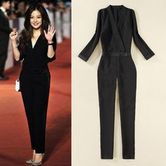 Cocktail Jumpsuits for Women 2014 | 2014 New Summer Women Clothing Full Sleeve Formal Solid Jumpsuits ...