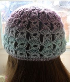 The rear view of my bespoke Broomstick Lace Beanie Hat #Crochet #beanie #unique #quirky FREE crochet tutorial available