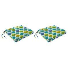 Outdoor Set Of 2 French Edge Seat Cushions In Denali Caribbean - Jordan Manufacturing,