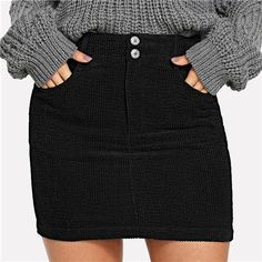 231bbbe34 Office Lady Pocket Solid Button Front Bodycon Elegant Preppy Mid Waist Skirt