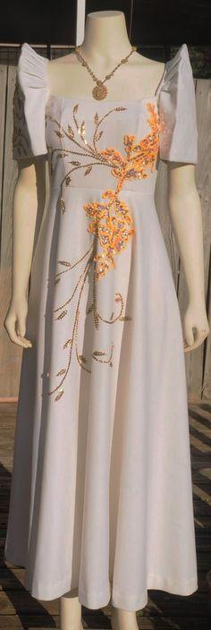 Filipiniana White Mestiza Terno Small Women Dress Gown