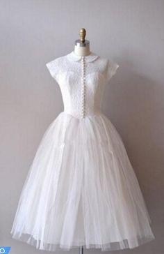 Vintage Knee-length Short Tulle Wedding Dress with  #BridalDresses #WeddingGowns #Wedding #WeddingDresses