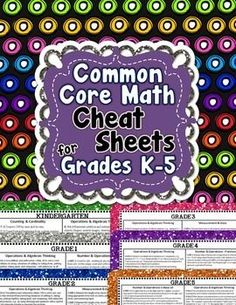 """Are you tired of flipping through dozens of pages to figure out what a certain Common Core standard is?! I know I was. I decided to make this 1 page """"Cheat Sheet"""" that I keep in the back of my Math Lesson Plans Binder. Every Common Core math standard is on 1 page!"""