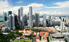 The modern business district and colonial Boat Quay Singapore