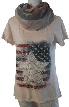 Impressionen shirt T-Shirt kurzarm rosa lachs batik Nieten Stern US Flagge 38-42