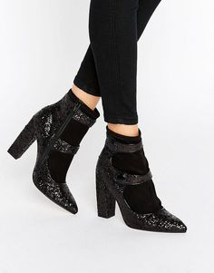 Image 1 ofASOS ELYSIA Glitter Pointed Ankle Boots