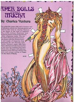 paper dolls in the style of mucha - charles ventura