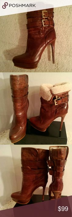 """Michael Kors stiletto booties OMG gorgeous! mottled warm brown leather with gold hardware; 2 straps with gold buckles fasten around the ankle for a secure fit; inside is faux fur but it only goes down the shaft about 6""""; wear the cuff standing or rolled down to show the fur; nicely padded in the arch;  4.5"""" heel with a 1"""" platform; Michael Michael Kors brand; size 6.5M   (T-20) MICHAEL Michael Kors Shoes Ankle Boots & Booties"""