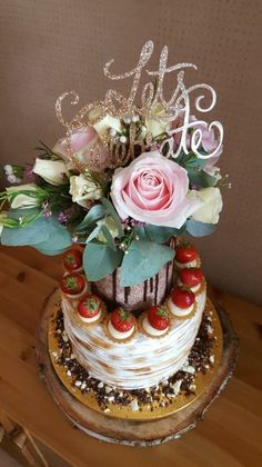 Flower cake topper Flower Cake Toppers, Flowers, Desserts, Beautiful, Tailgate Desserts, Deserts, Postres, Dessert, Royal Icing Flowers