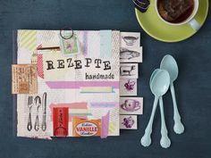 Deko-Werkstatt: Mein persönliches Kochbuch -  In persönlicher Weise aufbereitet, verschönert und beschriftet. Ab jetzt gilt: Nicht mehr wegwerfen! Egal, ob Einkaufszettel, Zuckertüten, abgestempelte Briefmarken, Zeitschriften und mehr - alles wird gebraucht für diese Gestaltung