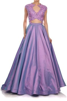 Runway 2 piece Purple illusion evening gown floral lace long taffeta skirt train wedding guest dress prom red carpet formal party crop top