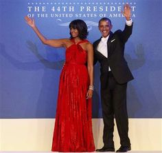 Party time! Obamas make grand entrance at inaugural ball (Photo: Shannon Stapleton / Reuters) #NBCPolitics