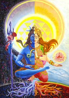 Ardhanarishvara - it& a form of indian god Shiva, when he unites with his goddess, Shakti, and they become one androgynous creature. Well, after my brother showed extremely kind of indifference to. Shiva Shakti, Kali Shiva, Rudra Shiva, Shiva Parvati Images, Shiva Art, Hindu Art, Lord Ganesha Paintings, Lord Shiva Painting, Krishna Painting