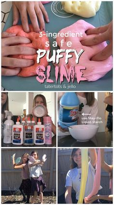 Make safe puffy slime. All it takes is THREE ingredients and it provides hours of entertainment for your kids. Here are the instructions and tips! (easy crafts for kids slime) Slime No Glue, Diy Slime, Liquid Starch Slime, Borax Slime, Sta Flo Slime, Easy Crafts For Kids, Diy For Kids, Kids Fun, Puffy Slime Recipe