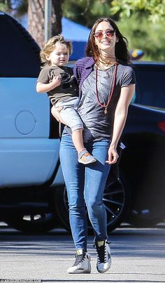 Casual look: Transformers star Megan looked incredible in her off-duty jeans and T-shirt a...
