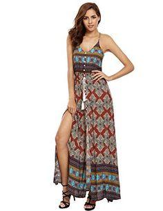 3de57fd96fc3 Floerns Women s Sundress Maxi Long Dress at Amazon Women s Clothing store