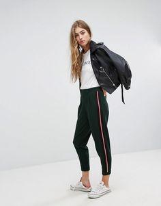 b0b90c13fa345 #ASOS - #Bershka Bershka Side Stripe Peg PANTS - Green - AdoreWe.com