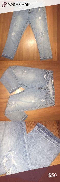 """{Gap} crop destroyed jeans {Gap} boyfriend """"real straight"""" crop destroyed jeans size 33r GAP Jeans Boyfriend"""