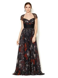 Monique Lhuillier Silk Chiffon Beaded Waist Gown