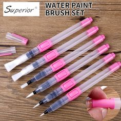 Buy BGLN Water Brush Water Paint Brush Set Large Capacity Soft Watercolor Painting Brush Pen For Beginner Drawing Art Supplies Watercolor Brush Pen, Watercolor Paintings, Brush Pen Art, Watercolors, Drawing For Beginners, Beginner Drawing, Cute Stationery, Stationary, School Stationery