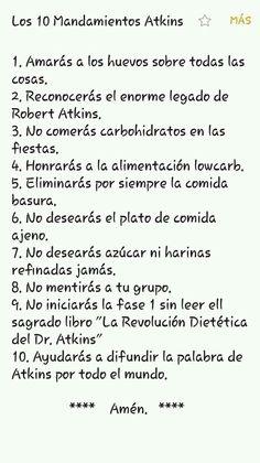 Mandamientos atkins Atkins, Math Equations, Health Foods, Food