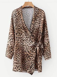 To find out about the Leopard Belted Wrap Jumpsuit at SHEIN, part of our latest Jumpsuits ready to shop online today! Bridal Jumpsuit, Wrap Jumpsuit, Leopard Belt, Animal Print Outfits, Fashion News, Rompers, Blazer, Jumpsuits, Model