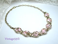 Vintage Necklace Pink Gold Collar by Vintage55 on Etsy, $18.00