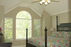 crown molding on angled ceiling Ceiling Crown Molding, Door Molding, Moldings And Trim, Angled Ceilings, Vaulted Ceilings, Home Bedroom, Master Bedroom, Master Suite, Sloped Ceiling Bedroom