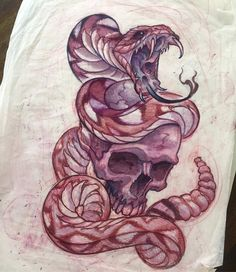 And the sketch for it. Snakes never get old. Skull Tattoos, Body Art Tattoos, Sleeve Tattoos, Dibujos Tattoo, Desenho Tattoo, Owl Tattoo Design, Tattoo Designs, Tattoo Sketches, Tattoo Drawings