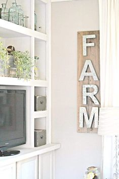 Did I show you the wall art I made for my living room? It's a Metal Letter Sign i made using old pottery barn metal letters. Such an easy Home Decor DIY! Industrial Farmhouse Decor, Diy Home Decor Rustic, Farmhouse Wall Art, Farmhouse Interior, Rustic Wall Decor, Rustic Walls, Easy Home Decor, Home Wall Decor, Home Decor Bedroom