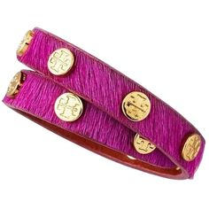 Pre-owned Tory Burch Double Wrap  Calf Hair Logo Bracelet - Raspberry... ($125) ❤ liked on Polyvore featuring jewelry, bracelets, wendy gelman, accessories, pink raspberry, tory burch jewellery, studded jewelry, cuff bangle, tory burch bangle and dot jewelry