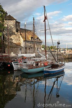 Detail of the port of Honfleur in Normandy, France