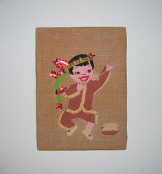 Vintage Indian Boy Felt Wall Hanging Picture  by Vintagecritter, $25.00