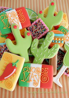Cinco de Mayo decorated sugar cookies. A colorful mix of cookies.