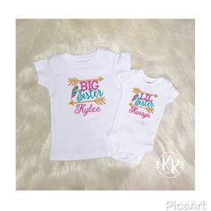 This listing is for two personalized Big Sister Little Sister Set, Big Sister Shirt, Little Sister Shirt, Personalized with names.  Little Sister & Big Sister Set embroidered with Gold, Pink, and Teal lettering including names. The embroidery is stabilized with soft backing. This item is available in different sizes and colors. Please choose a size when checking out. If you would like to change the colors please contact us. *Please leave both names in the notes box when checking out*  *P...