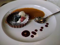 Caramel and Chocolate Tart with Creme Fraiche at The Ashville in Bristol