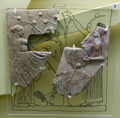 Fruit-picking: Locrian pinax Type 4/1 Zancani-MontuoroFirst half of the 5th c. BCE From the sanctuary of Persephone at Locri, loc. Mannella. Museo Archeologico Nazionale di Locri Epizefiri